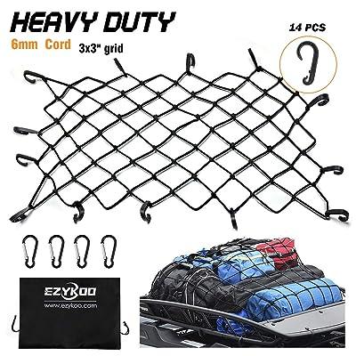 "EZYKOO Cargo Nets 47"" x 36"",6mm Premium Bungee Cord Net,3"" x 3"" Grid Mesh Cargo Net,Auto Roof Tie-Down Net with 14 Hooks: Automotive"