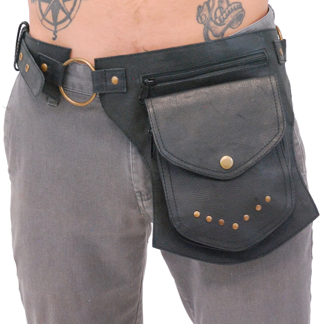 Jamin Leather Tall Multi-Pocket Extra Heavy Cowhide Leather Waist Bag w//O-Rings