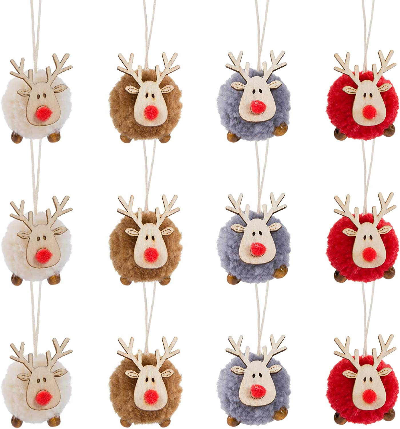 Biubee Pack of 12 Christmas Felt Wooden Elk Hanging Ornaments- 4 Colors Adorable Wooden Wool Felt Reindeer Christmas Tree Hanging Pendants Decorations Xmas Deer Crafts for Xmas Party Tree Decor