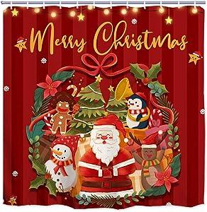 "ORTIGIA Merry Christmas Shower Curtains,Funny Santa Claus Bath Curtain,Xmas Snowman Bath Decor for Bathroom,Winter Holiday Shower Curtain,Waterproof Polyester Fabric 72"" Wx72 L with Hooks"