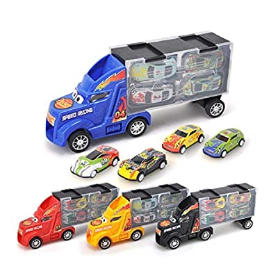 Leoneva Toy Truck Transport Car Carrier with 4 Toy Cars Gift for Children Toy RC Vehicles: Clothing