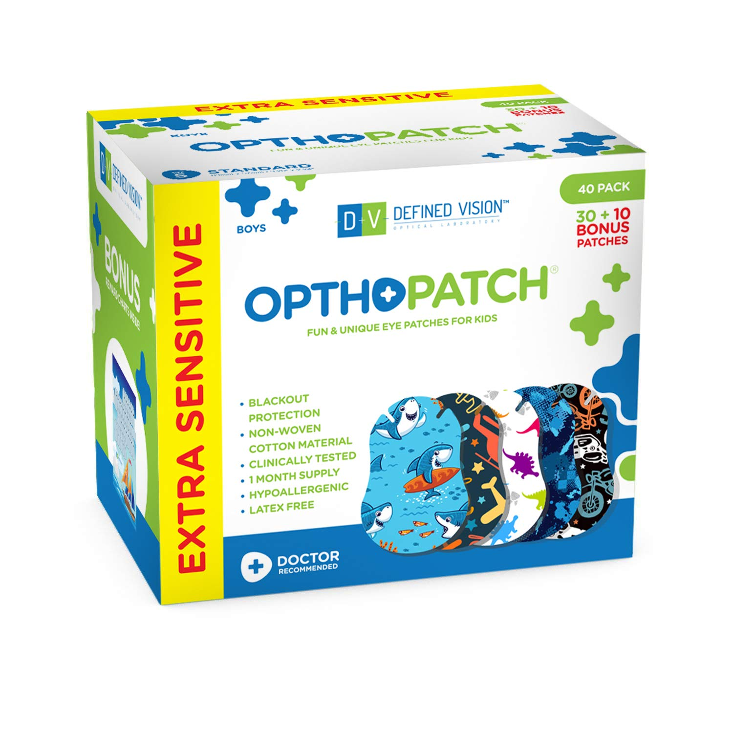 OPTHOPATCH Kids Eye Patches - Fun Boys Design - 30 + 10 Bonus Latex Free Hypoallergenic Cotton Extra Sensitive Adhesive Bandages for Amblyopia & Cross Eye-3 Reward Chart Posters by Defined Vision