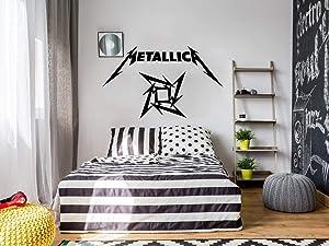 redbead Metallica Decal Rock Band Logo Vinyl Wall Decal Stickers Laptop Decals Car Sticker for Fans