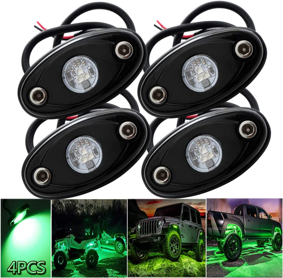 LEDMIRCY LED Rock Lights Green Kit 4PCS for JEEP Off Road Truck Auto Car Boat ATV SUV Waterproof High Power Neon Trail Lights Underglow Lights Interior Exterior Shockproof 4PCS Green