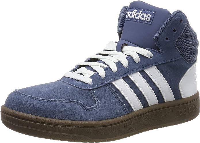 adidas Hoops 2.0 Mid Sneakers Basketball Schuhe Herren Blau m. weißen Streifen