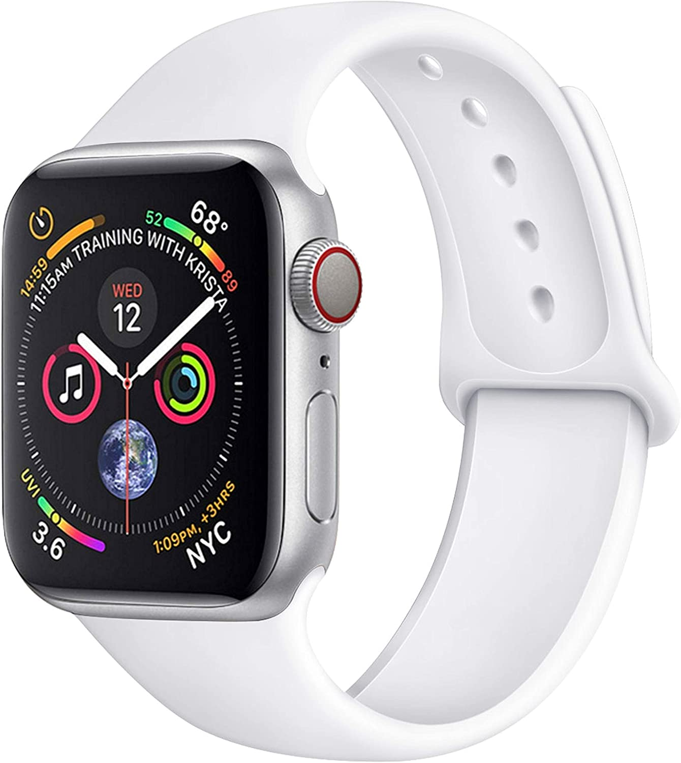 Compatible with Apple Watch Bands 38mm 40mm 42mm 44mm, Soft Silicone Sport Loop Bands Compatible with iwatch Series 6/5/4/3/2/1/SE, Sports Edition for Both Men & Women (White, 38/40mm M/L)