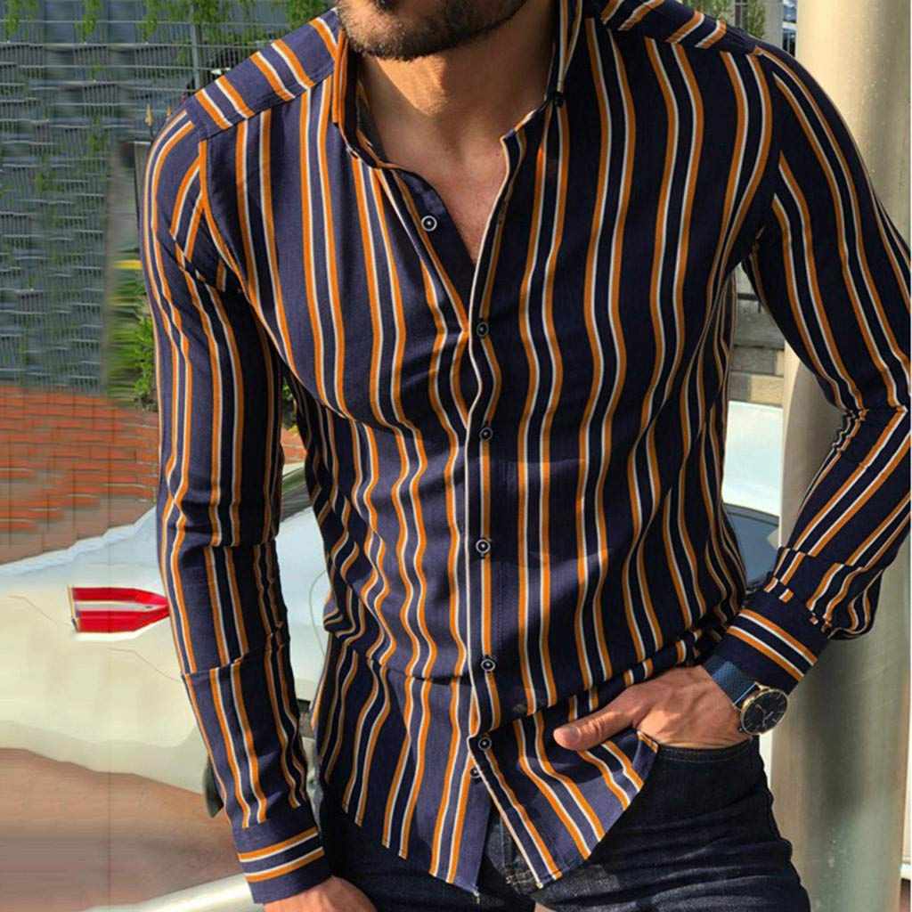 SOLELING Manica Lunga Camicia a Righe per Uomo Autunno Primavera Camicie Casual con Turn-Down Colletto Moda Slim Fit Camicia Shirts Tops con Pulsante
