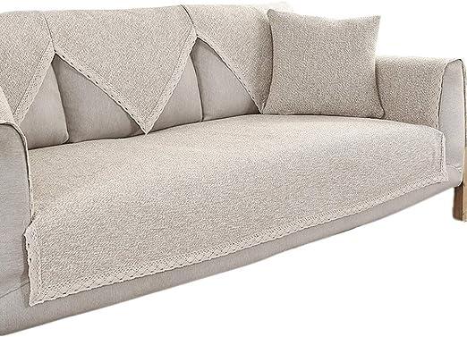 HiiGlife Fundas de sofá de Lino y algodón Cobertura Completa Cojín ...