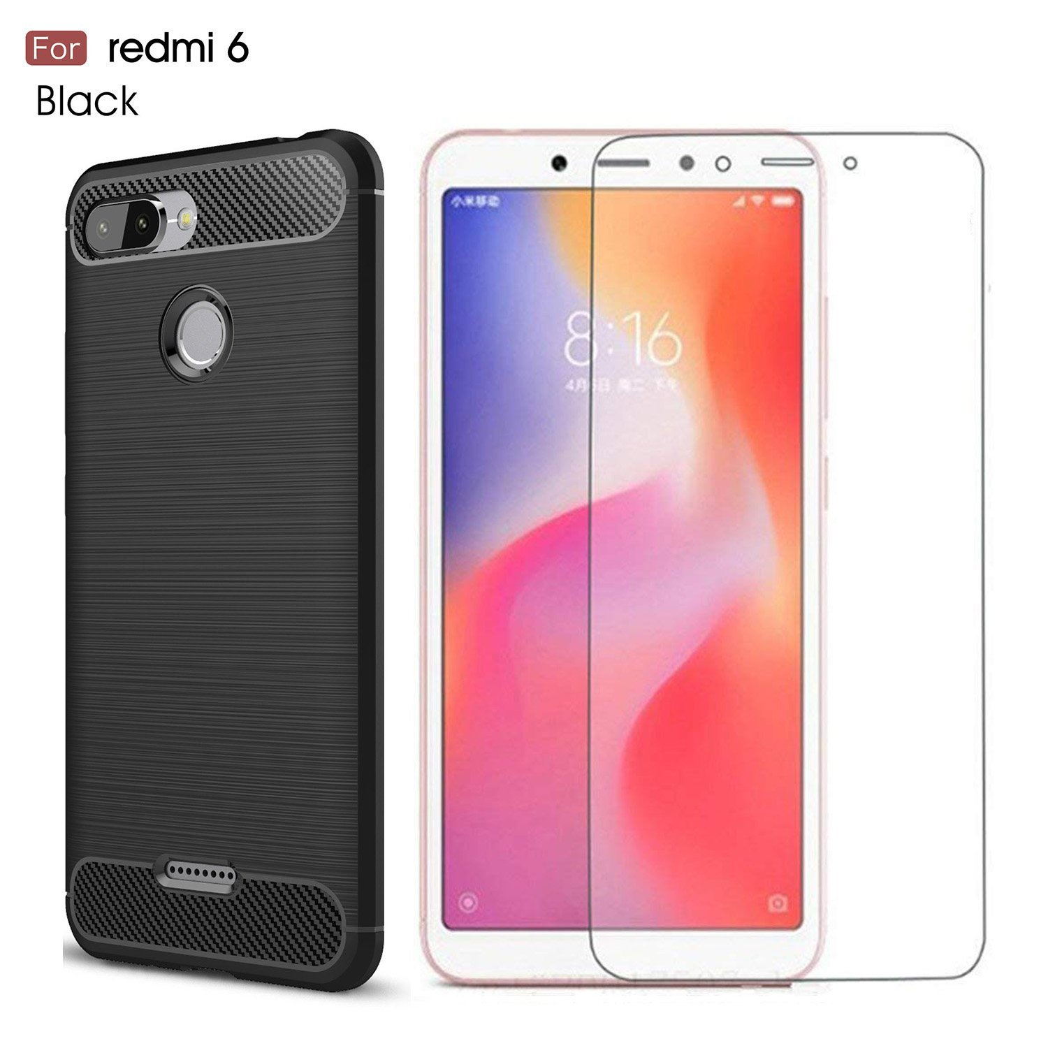 on sale c5e13 3336a Amazon.com: Xiaomi Redmi 6 case,with Xiaomi Redmi 6 Screen Protector ...