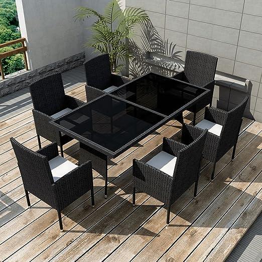 Festnight Mesa de Comedor de Jardín Muebles de Comedor Negro: Amazon.es: Hogar