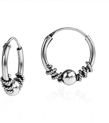 925 Sterling Silver Bali Ear Hoops