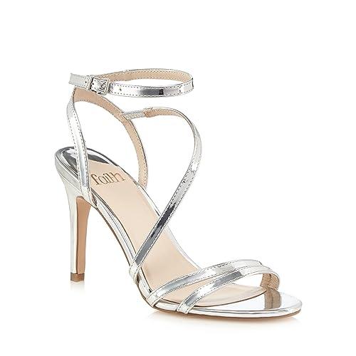 b132ecd04e5 Faith Womens Silver  Delly  High Stiletto Heel Ankle Strap Sandals ...