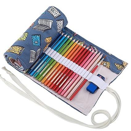 abaría - Bolso para lápices, Grande Estuche Enrollable para 72 lapices Colores, portalápices de Lona, Bolsa Organizador lápices para Infantil Adulto, ...