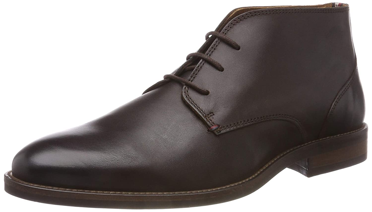 TALLA 44 EU. Tommy Hilfiger Essential Leather Boot, Zapatos de Cordones Derby para Hombre