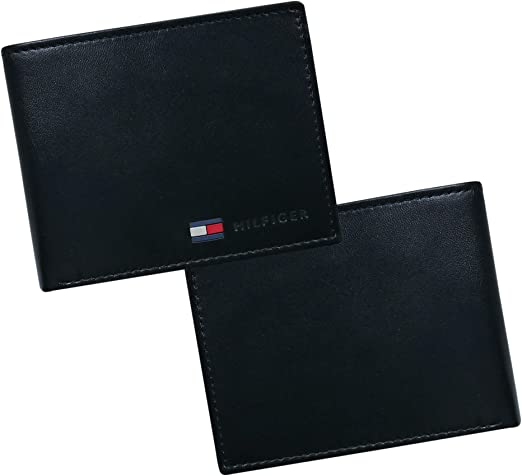 Tommy Hilfiger Coin Pocket Wallet - Genuine Leather Slim Single Fold Bifold for Men with Small Pouch