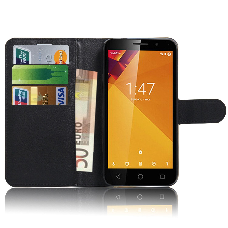 Anzhao Vodafone Smart Turbo 7 VFD500 Funda Funda de Cuero Piel Carcasa con Ranuras para Tarjetas para Vodafone Smart Turbo 7 VFD500 (Negro): Amazon.es: ...