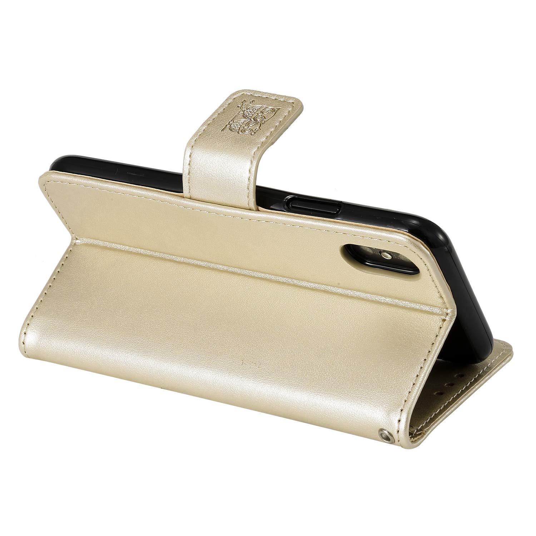 LOHHA100322 Gold Lomogo Embossed Owl iPhone XR Case Leather Wallet Case with Kickstand Card Holder Shockproof Flip Case Cover for Apple iPhone XR