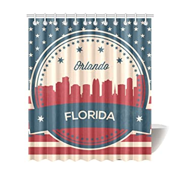 Vintage Florida State Orlando Skyline Shower Curtains 72 X 84 Inches Polyester Fabric Bath Curtain With