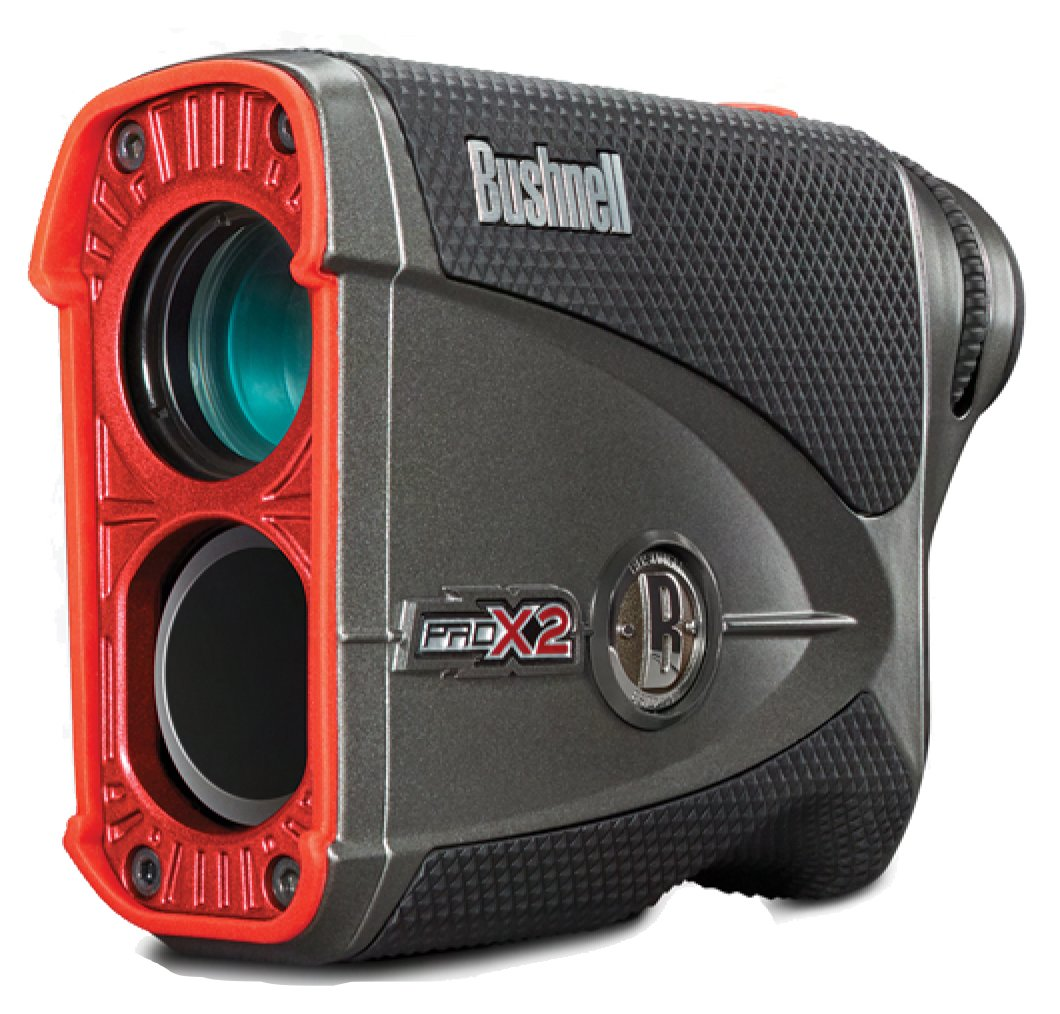 Bushnell Pro X2 Golf Laser Rangefinder | Cart Mount Bundle | Includes Golf Rangefinder (Slope & Non-Slope Function), Carrying Case, Magnetic Golf Cart Mount (Black) and One (1) CR2 Battery