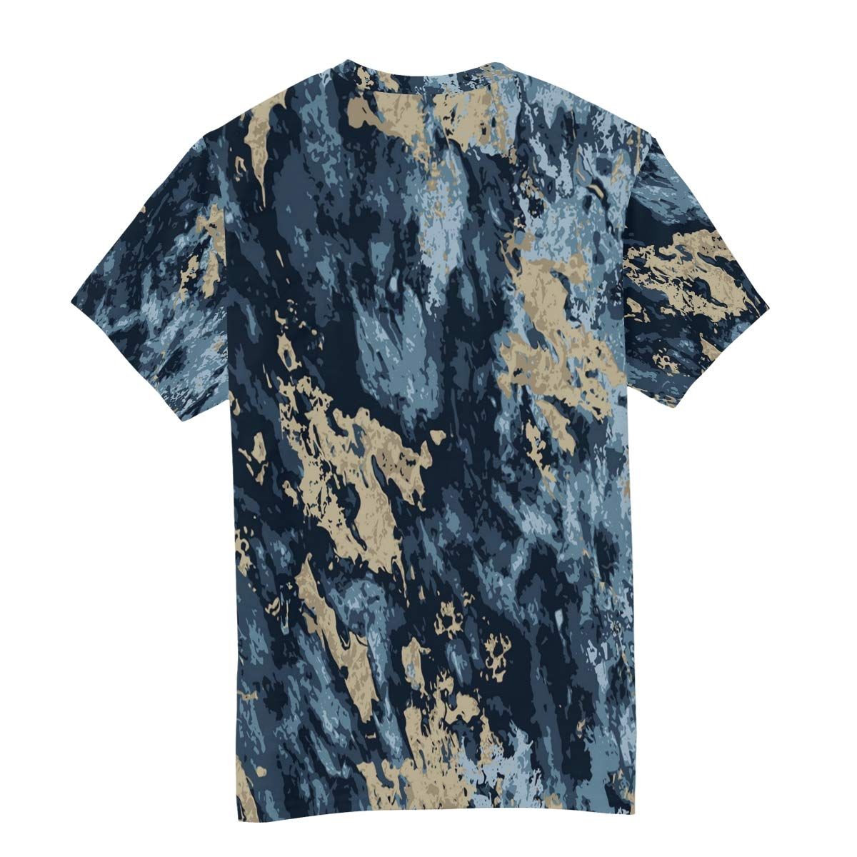 Horatiood Huberyyd Blue Gold Marble Pattern Mens T Shirts Graphic Funny Body Print Short T-Shirt Unisex Pullover Blouse