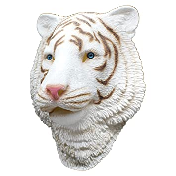 PartyCostume - Tigre Blanco - Latex Mascara De Halloween Mascara De Cabeza De Animal Bosque Bestia