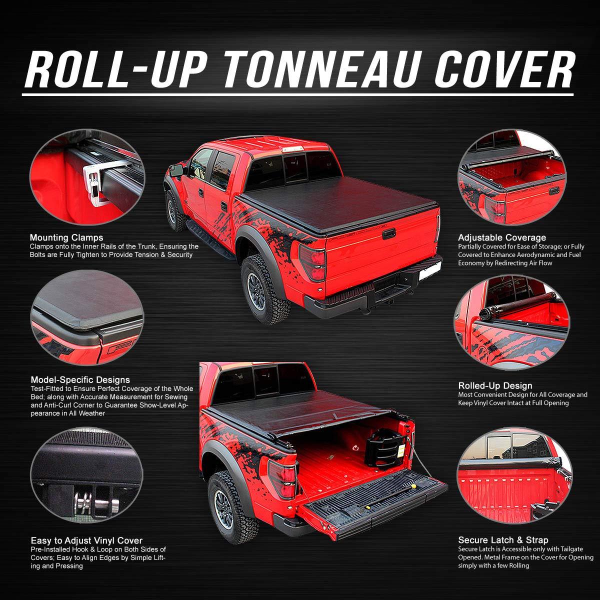 For 09-18 Ram 5.8Ft Fleetside Short Bed Top Soft Vinyl Roll-Up Tonneau Cover