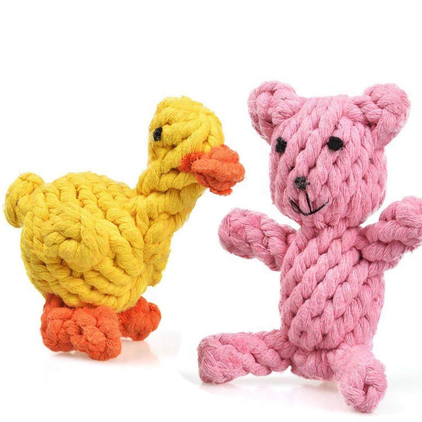 Creaker Puppy Dog Chew Toys, Animal Design Cotton Rope Dog Toys Puppy Pet Play Chew Training