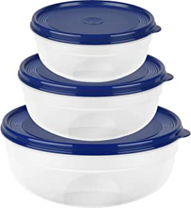 ESMA EMSA SUPERLINE 517097 Round Storage Container Set, 0.8/1.4/2.4 litres, Transparent/Blue, 23.5 x 23.5 x 9.1 cm