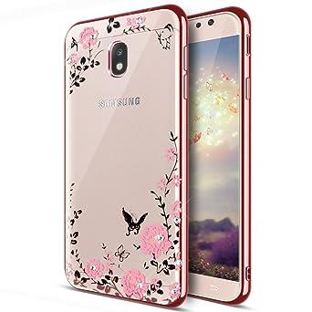 Kompatibel mit Galaxy J5 2017 Hülle,Schmetterling Blumen Glänzend Glitzer Strass Diamant Überzug TPU Silikon Hülle Tasche Dur