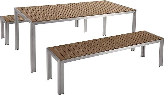 Beliani - Table de Jardin et 2 Bancs - Nardo - en Bois ...