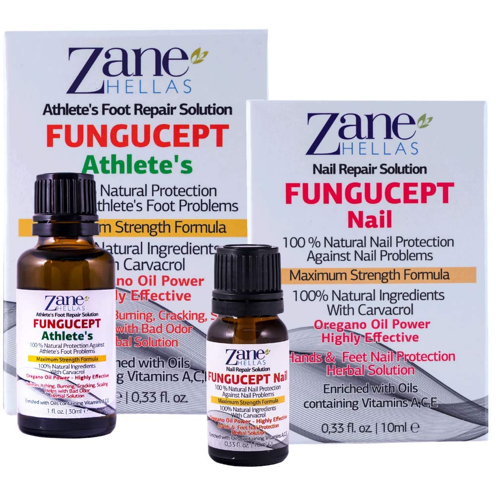 FunguCept Combo. Nail and Athlete Repair Solution. Ideal for Nail and Athlete Associated Problems. 100% Natural 0.33 fl.oz. - 10ml, 1 oz - 30 ml.
