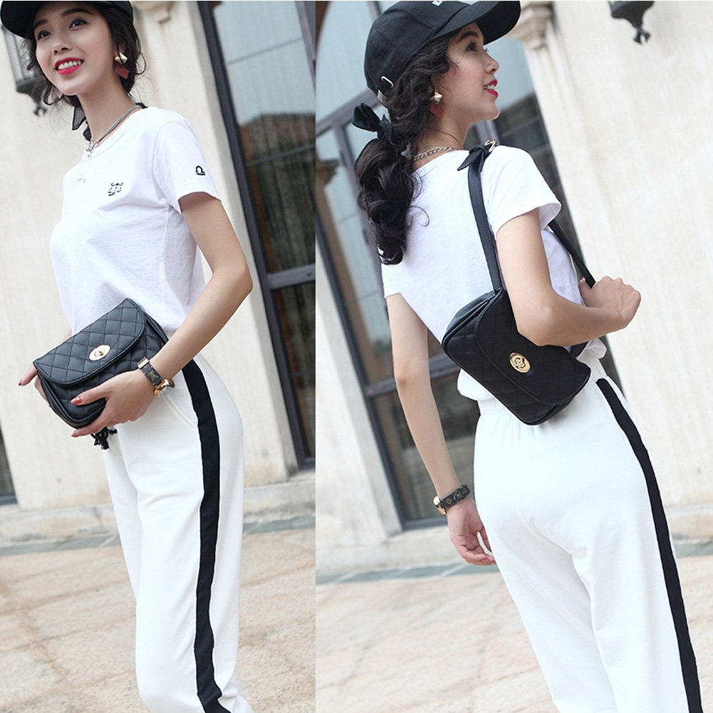 Fanny Pack for Women Fashion Waist Bag PU Quilted Belt Bag Bum Bag Chest Pack with Two Belts (Black) by VAQM (Image #3)