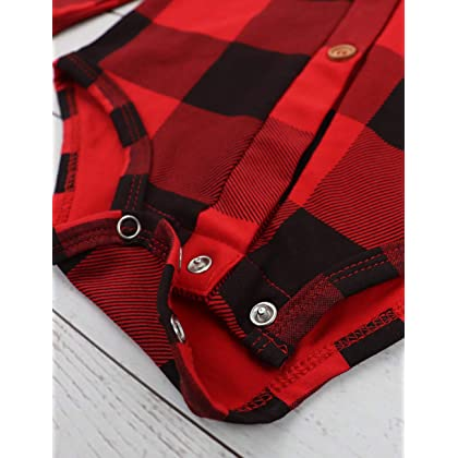 155798c3035b ... Newborn Baby Boys Girls Christmas Plaid Cardigan Romper Christmas Outfit  with Moose Embroidery 2Pcs Outfit Set ...
