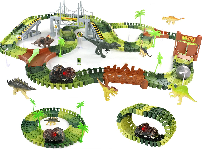 Symiu Dinosaurios Juguetes Pista de Carreras con Coche de Dinosaurio 216 Piezas Circuito Magico de Carreras Juego Educativo Regalos para Niños 3 4 5 6 Años