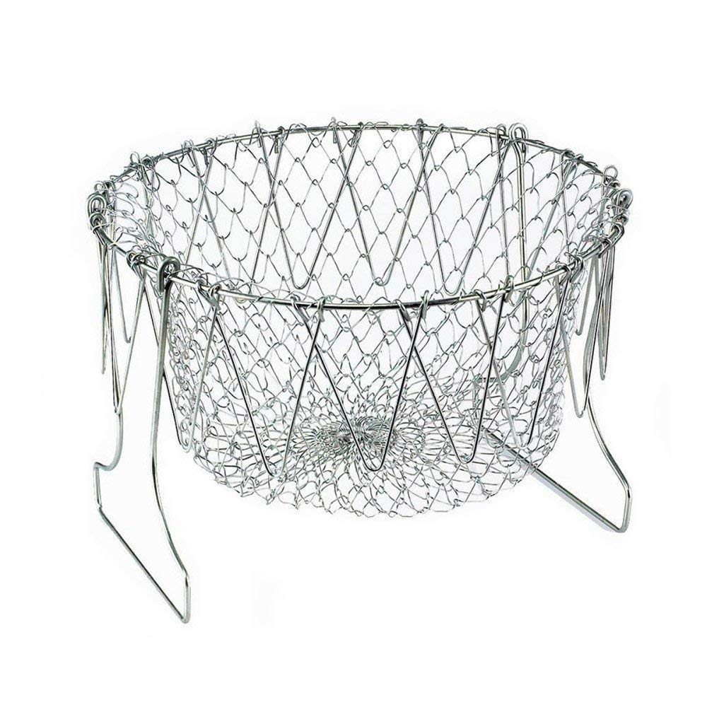 Foldable Fry Basket,Chef Basket, Multi-Function Stainless Steel Fry Chef Basket,Poaching Boiling Deep Frying Basket,Fruit Vegetable Rinsing Washing Cook Tool DSTong