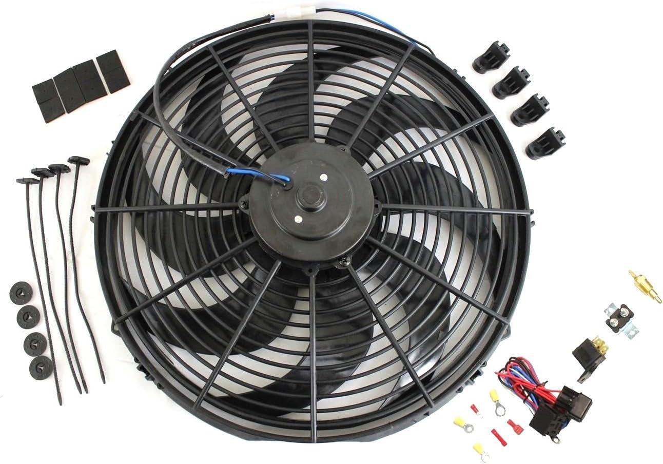 "16"" Heavy Duty Radiator Electric Wide Curved Blade FAN 3000 CFM Reversible"