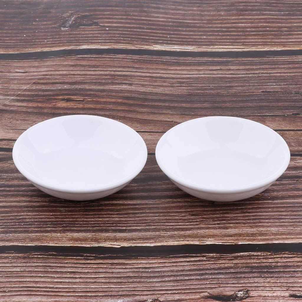 Saucers 2 Pieces Oil Warmer Replacement Dish Oil Burner White Ceramic Dish for Aroma Lamp Tealights Holder Plates