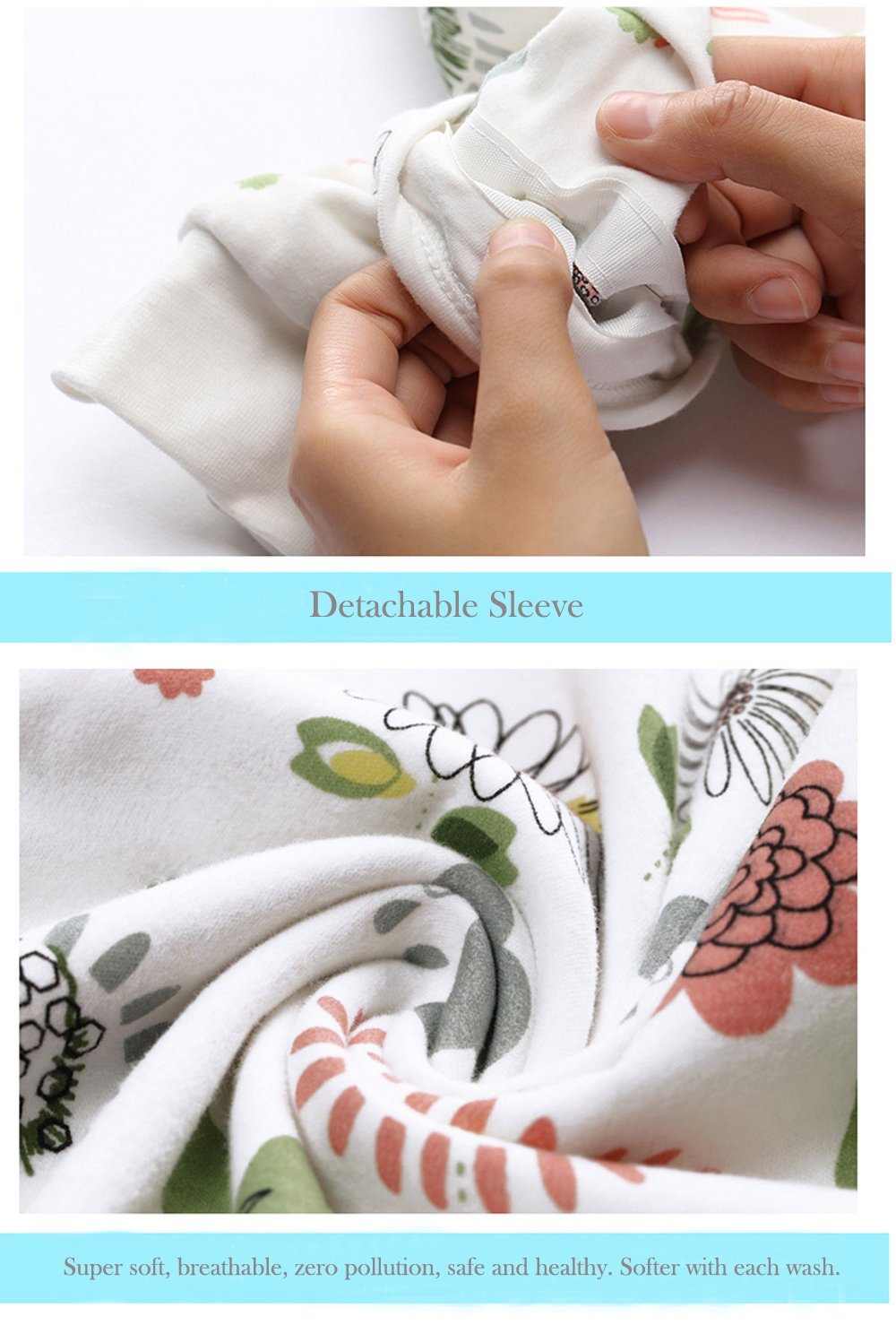 Floral Detachable Sleeve Organic Cotton Baby Sleep Bag Sack Wearable Blanket M by The morning (Image #4)