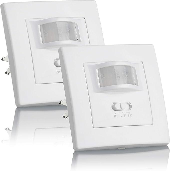 SEBSON® 2X Detector de Movimiento Empotrable, Interior, LED Adecuado, Montaje en Pared, programable, Sensor de Infrarrojos, Alcance 9m / 160°: Amazon.es: Bricolaje y herramientas