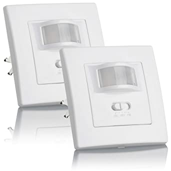 Sebson® 2X Detector de Movimiento empotrable, Interior, LED Adecuado, Montaje en Pared, programable, Sensor de Infrarrojos, Alcance 9m/160°
