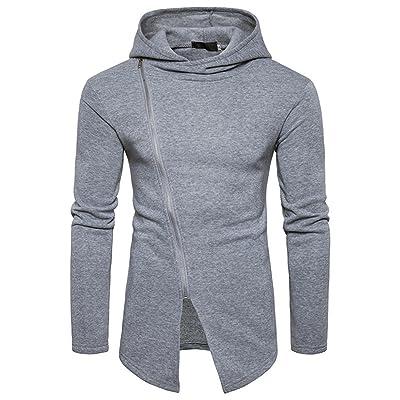 Abepanic Men's Fashion Oblique Full Zip Solid Outwear Hoodie Pullover Sweatshirt