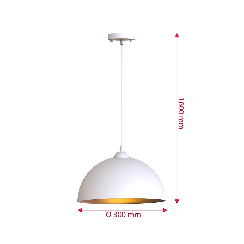 B.K. Licht 2x Lampes suspendues Industriel Vintage Suspension Φ 30cm  Ampoules E27, noir ou blanc, pour ... ac3c9ab4df6f