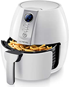 Ultrean Air Fryer, 4.2 Quart (4 Liter) Electric Hot Air Fryers Oven Oilless Cooker with LCD Digital Screen and Nonstick Frying Pot, UL Certified, 1-Year Warranty, 1500W (White)