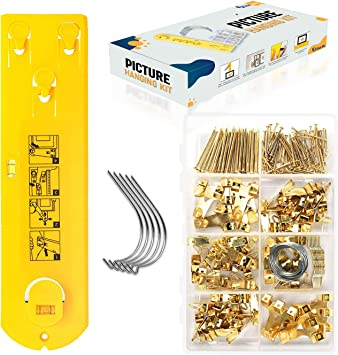 Picture Hanging Tool Kit - Includes Stainless Steel Picture Hanging Hooks, Level Tool and Hardware. Picture Frame Hanger Heavy Duty Photo Hanger Accessories with Picture Hanging Kit, Wire, and Nails