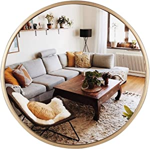"""Geloo Large Gold Round Wall Mirror - 28"""" Circle Mirror,Modern Mirror,Accent Mirror,Room Mirrors,Vanity Mirror,Decorative Mirrors for Wall Decor,Bedroom,Bathroom,Living Room,Entryway"""