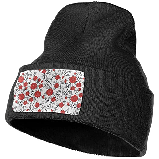 05aa83f460f1d Image Unavailable. Image not available for. Color  LogicTCCC Chinese Rose  Pattern Warm Winter Knit Plain Beanie Hat ...