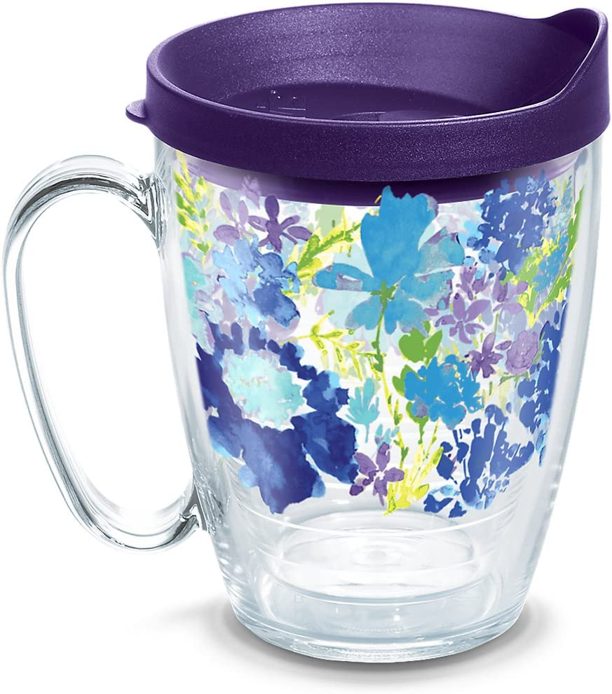 Tervis 1290905 Fiesta-Purple Floral Tumbler with Wrap and Royal Lid, 16oz Mug, Clear