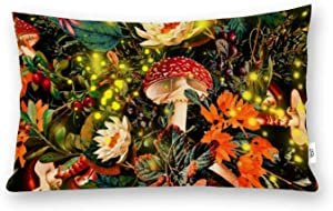 yyone King Size Washed Cotton Pillowcase Night Garden and Fireflies Home Decorative Pillow Cover with Hidden Zipper