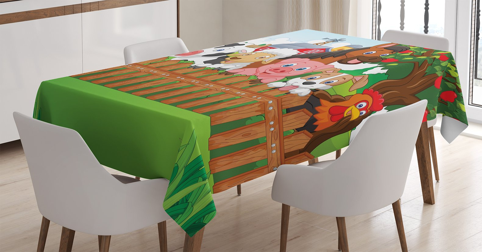 Ambesonne Cartoon Tablecloth, Composition Cute Farm Animals on Fence Comic Mascots with Dog Cow Horse Kids Design, Dining Room Kitchen Rectangular Table Cover, 60 W X 84 L Inches, Multicolor