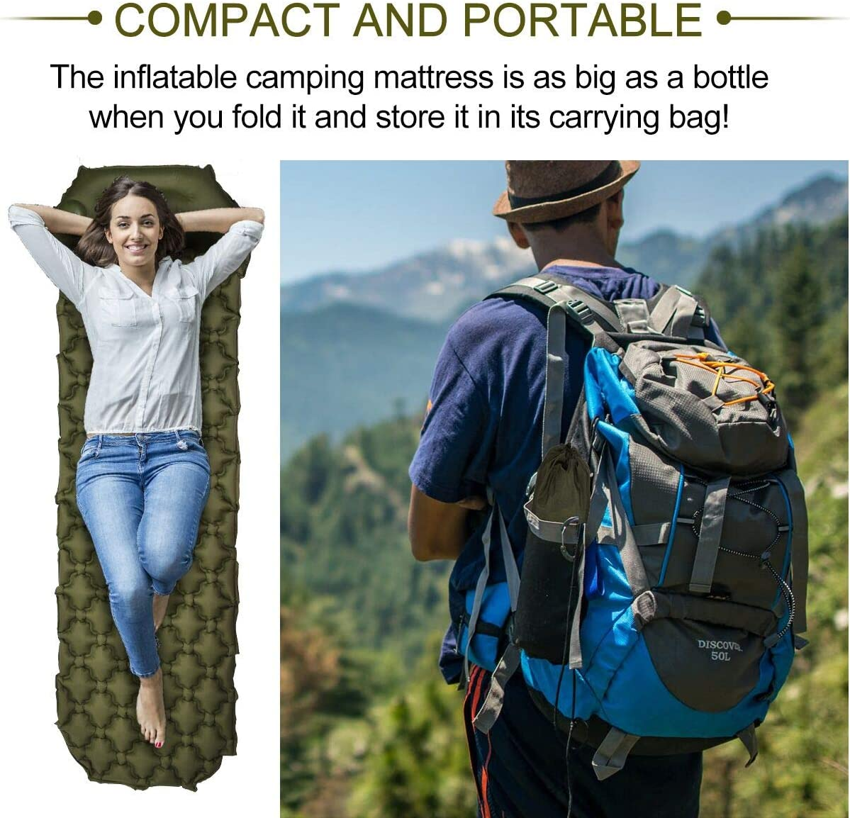 Camping Sleeping Pad, Upgraded Inflatable Camping Mat with Built-in Pump, 2.5 Thick Sleeping Pads, Durable Waterproof Air Mattress Compact Ultralight Hiking Pad for Tent,Travel, Backpacking, Hiking